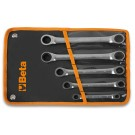 Beta Tools Set of 5 Ratcheting Double-Ended Flat Bi-Hex Ring Wrenches in Wallet 195/B5